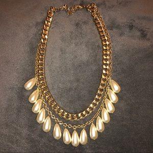 Double Gold chain pearl necklace